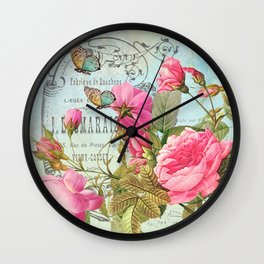 Vintage Flowers #3 Wall Clock