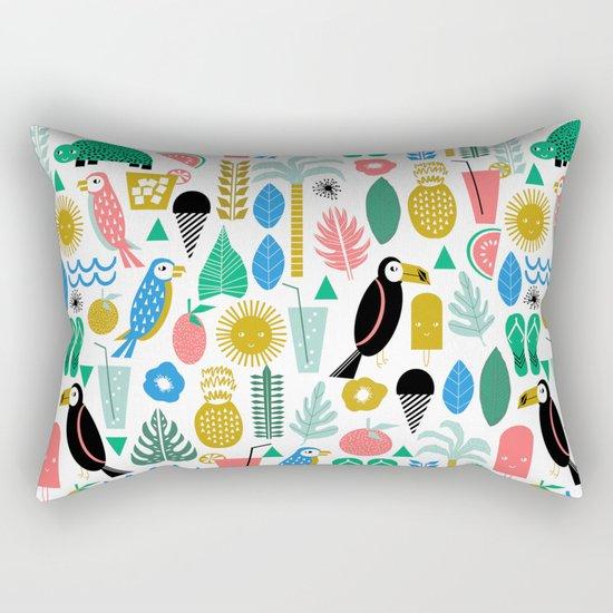 Tropical Vacation Island print pattern fun beach surf sand fun gift for trendy dorm room bright  Rectangular Pillow