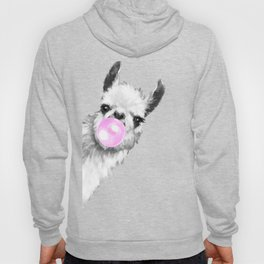 Bubble Gum Sneaky Llama Black and White Hoody
