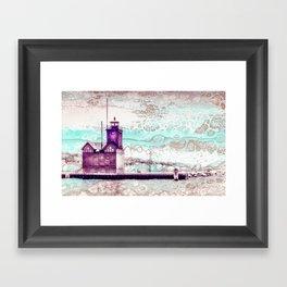 """Holland Harbor Lighthouse"" - Michigan Fluid Art Lighthouse Series Framed Art Print"