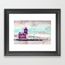 """Holland Harbor Lighthouse"" - Michigan Fluid Art Lighthouse Series Framed Art Print"