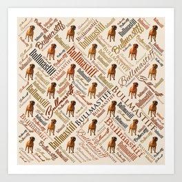Bullmastiff Word Art Art Print
