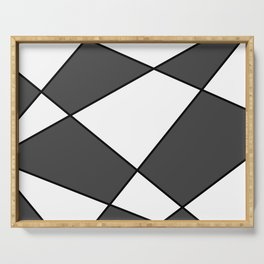 Geometric abstract - gray, black and white. Serving Tray