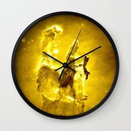 Yellow neBUla Pillars of Creation Wall Clock