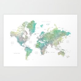 Watercolor world map in muted green and brown Art Print