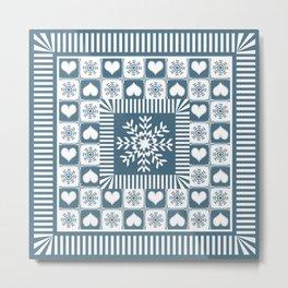 Winter Snowflake Christmas Pattern Metal Print
