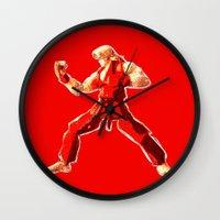street fighter Wall Clocks featuring Street Fighter II - Ken by Carlo Spaziani