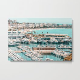 Aerial Cannes City, Luxurious Yachts And Boats, Aerial Beach In France, Aerial Harbor Port At Mediterranean Sea, Aerial Sea View, Seascape Aerial, Cannes France Metal Print