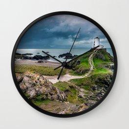 Twr Mawr Lighthouse,North Wales, United Kingdom, Seascape, Nature, Beach Wall Clock