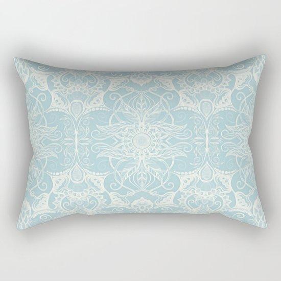 Floral Pattern In Duck Egg Blue Amp Cream Rectangular Pillow