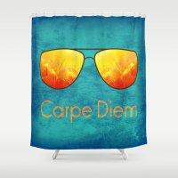 carpe diem Shower Curtains featuring Carpe Diem by Leah M. Gunther Photography & Design