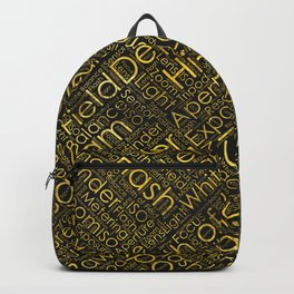 Photography Terms Word Cloud Pattern Gold on Black Backpack