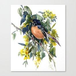 American Robin on Linden Tree, Deep blue Cottage Woodland style design Canvas Print