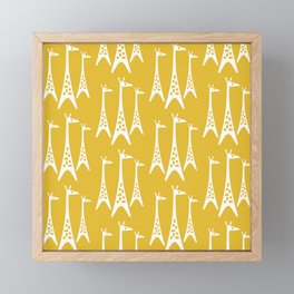 Mid Century Modern Giraffe Pattern 221 Mustard Yellow Framed Mini Art Print