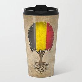 Vintage Tree of Life with Flag of Belgium Travel Mug