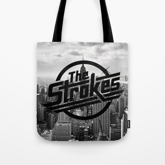 The Strokes Logo New York Black And White Tote Bag