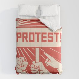 protest design - lots of furious people (man holding transparent, demonstrations) Comforters