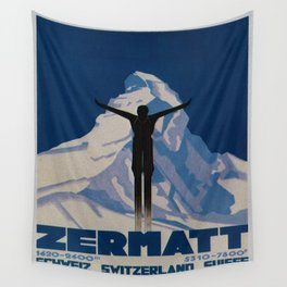 Vintage Zermatt Switzerland Travel Wall Tapestry