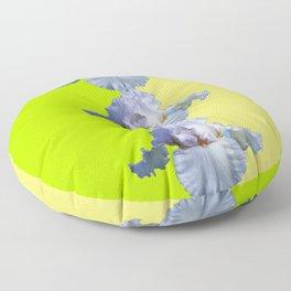 SNOW WHITE SPRING IRIS  GREEN-YELLOW  FLOWERS ART Floor Pillow