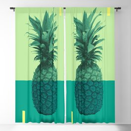Pineapple Print - Tropical Decor - Botanical Print - Pineapple Wall Art - Blue, Teal, Aqua - Minimal Blackout Curtain