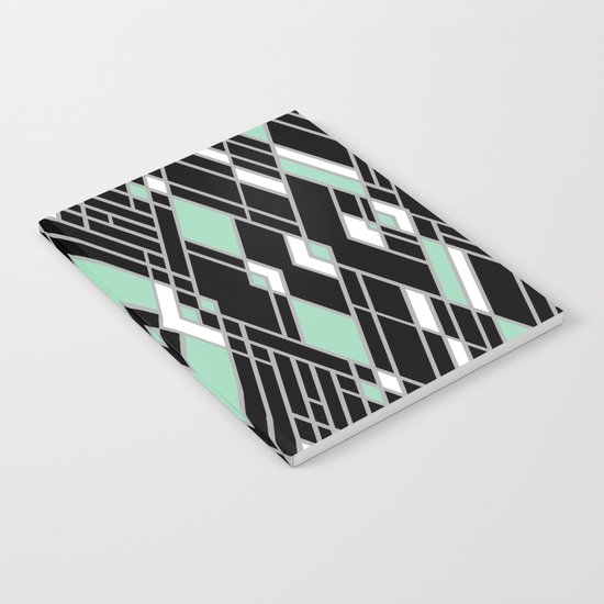 Art Deco Zoom Mint Notebook