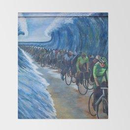 Biking Through the Red Sea Throw Blanket