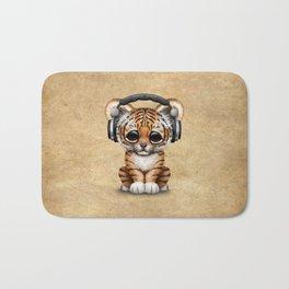 Cute Tiger Cub Dj Wearing Headphones Bath Mat