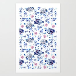 Crystalised Roses in Ming Porcelain  Art Print