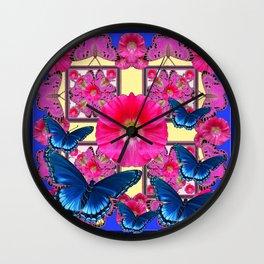 CERISE PINK & BLUE BUTTERFLIES FLORAL ART Wall Clock