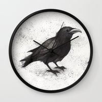 justin timberlake Wall Clocks featuring Crow by Puddingshades