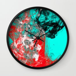 Marbled Collision - Abstract, red, blue, black and white mixed paint artwork Wall Clock