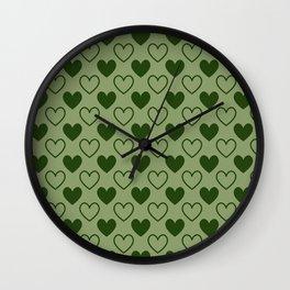Green Hearts - Love Wall Clock