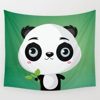 panda Wall Tapestries featuring Panda by Maria Jose Da Luz