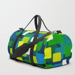 "Original Abstract Acrylic Painting by  ""City Lights"" Colorful Geometric Square Pattern Gre Duffle Bag"