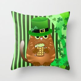 Sint Patrick's day cat with green top hat and drinking beer Throw Pillow