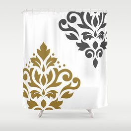 Scroll Damask Art I Gold & Grey on White Shower Curtain