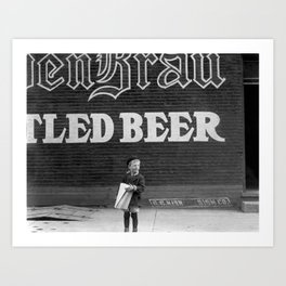 Young Paperboy Working - Missouri 1910 Art Print