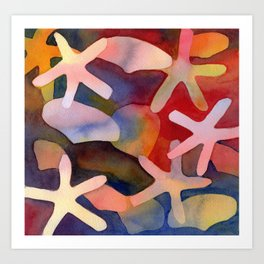 Sea Stars and Sea Shells Watercolor Art Art Print