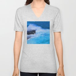 Tropical Island Sapphire Blue Ocean Waves With Foamy Surf Unisex V-Neck