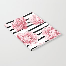 Simply Drawn Stripes and Roses Notebook