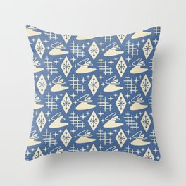 Mid Century Modern Boomerang Abstract Pattern Blue and Tan 261 Throw Pillow