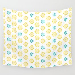 Spring Yellow Blue Flower Pattern Wall Tapestry
