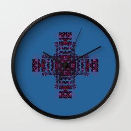 She's Abundantly Blessed Cross on Blue Wall Clock