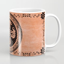 Indian Elephant Floral Hippie Bohemian Design On Orange Coffee Mug