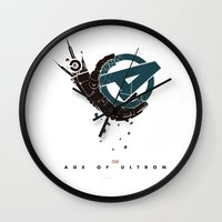 superheros Wall Clocks featuring Age of Ultron (Mechanic hand) by Illuminany