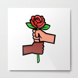 Two Hands Holding Red Rose Mascot Metal Print