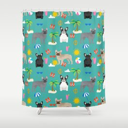 French Bulldog summer beach dog breed gifts frenchies pet portrait tropical palm trees Shower Curtain