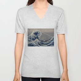 Hokusai Meets Fibonacci Unisex V-Neck