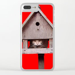 Cat hides in a birdhouse - red Clear iPhone Case