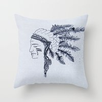 native american Throw Pillows featuring Native American by Anna Flowers